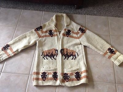Unique Vintage 1960 Mary Maxim hand knitted Buffalo Cardigan Sweater