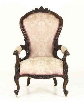 Victorian Parlor Chair | Carved Mahogany Chair | Scotland, 1870 | B805