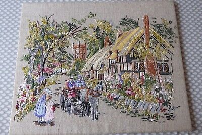 Vintage Hand Embroidered Picture Panel -  English Village Cottages /church