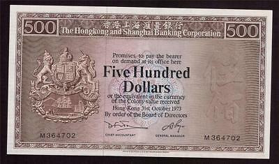 1973 Hong Kong Shanghai Bank $500 Five Hundred Dollars M364702 EF45+