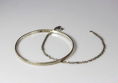 """TWO Sterling Silver Bracelet 1 Bangle & 1 Twisted H-Bone Chain 7.75"""" 7.5"""" - 267"""