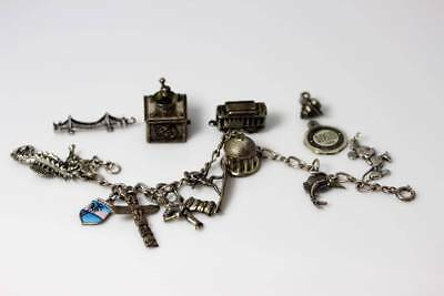 925 Charm Bracelet & Lots of Charms Mickey Mouse, Sea Horse, Trolley - 5660