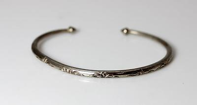 "Beautiful Vintage Sterling Silver Hand Carved Floral Cuff Bracelet 6.5"" – 10876"