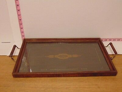 "1896 Antique Wood Inlay With Glass Tray 17"" x 11"" Dated On The Back"