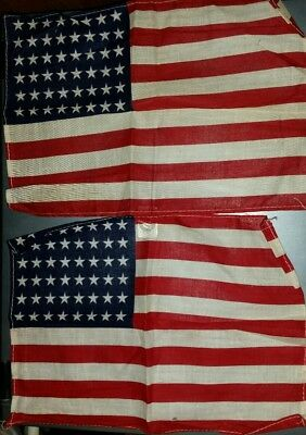 "2 Antique US FLAG 48 Star Small WWII Era Correct 7"" x 10 1/8"" VTG RARE"