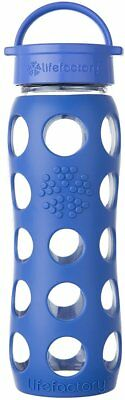 Glass Water Bottle with Leakproof Cap, LifeFactory, 22 oz Cobalt