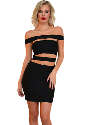 """""""Cyrilla"""" Kylie Jenner inspired Sexy Off the Shoulder Black Bandage Dress-S"""