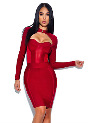 """Nia"" Sexy Maroon Long Sleeve Sheer Mesh Bandage Dress-XS"