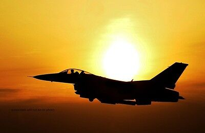 """F-16 Fighter Jet over South Korea at sunset 13""""x 19"""" Iraq War Photo Poster 54"""