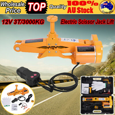 Automotive Electric Scissor Jack Lift 3T 12V DC Remote Hoist SUV Van Car Jack AU