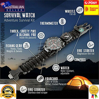 16 in 1 Camping Hiking Gear Survival Watch Compass Flint Fire Thermometer A Must