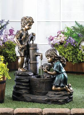 Two Children & Doggy Wash Outdoor Water Fountain For Sale, Garden Fountain Decor