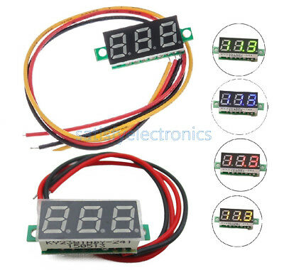 "0.28"" Red/Blue/Yellow/Green 2/3-Wire Voltmeter LED Display Voltage Panel Meter"