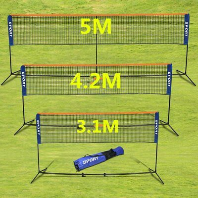 Foldable 3.1/4.2/5M Badminton Net Volleyball Tennis Nets With Frame Stand UK