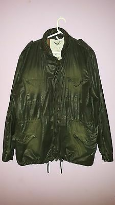 French Connection FCUK Waxed Military Style Jacket XXL Dark Olive Green=Barbour