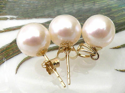 PERFECT ROUND 10-11mm AAA+ WHITE AKOYA PEARL EARRING PENDANT SET 14K SOLID GOLD