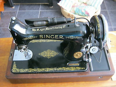 Vintage SINGER Electric sewing machine Knee operated  VGC  (Rare) Free running