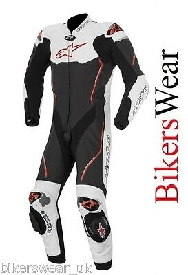 Alpinestars Atem White/Black/RED 1 One Piece Leather Motorcycle Suit £325 OFF