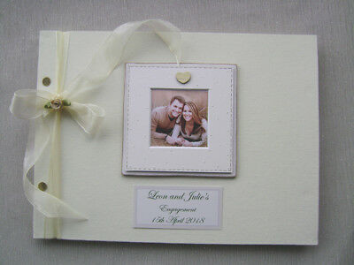 Personalised Engagement Guest Book A4 Size With Box.any Message.photo Insert
