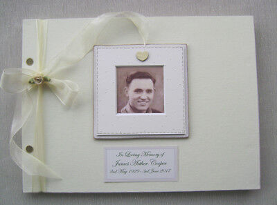 Personalised Condolence Guest Book A4 Size With Box.any Message.photo Insert