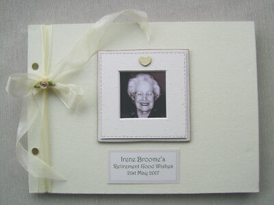 Personalised Retirement. Guest Book A4 Size With Box.any Message.photo Insert
