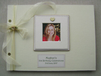 Personalised Linen 21St/18Th Birthday Guest Book A4 Size With Box..photo Insert