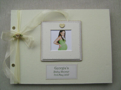 Personalised Linen Baby Shower Guest Book A4 Size With Box..photo Insert