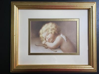 Home and Garden Party Sleeping Angel Picture- Double Matted and Gold Framed