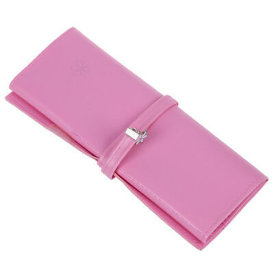 Pink Faux Leather Cosmetic Pencil Pen Brush Holder Bag for Ladies Z6R4
