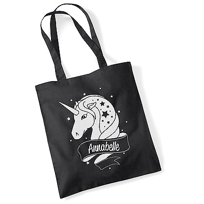Personalised Unicorn White Glitter Tote Bag Choose Your Name and Colour