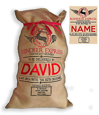 "XL Personalised Hessian ""Reindeer Express "" Santa Christmas Present Sack"