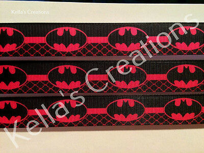 """Batman Ribbon Hot Pink 7/8"""" Sold by 2 M - Craft - Hair Bow- Dummy clips etc"""