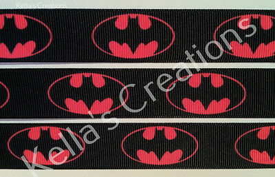 """Batman pink 7/8"""" ribbon sold by 2 M - Craft - Hair - Dummy Clips- Cake"""