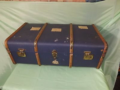 VINTAGE BENTWOOD BANDED STEAMER Suitcase BLUE TRAVEL Cabin Trunk