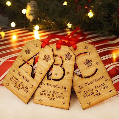 Personalised Initial Christmas Wooden Message Gift Tag Traditional Xmas Keepsake