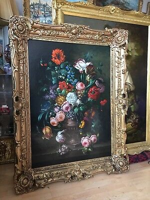 Early 20th century large oil painting on canvas unsigned gilt frame