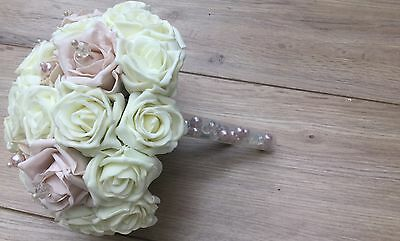 Wedding Flowers Blush Pink Ivory Champagne Beige Roses Posy Bouquet Bride Pearls
