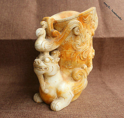 20cm Collect Chinese White Jade Jadeite Carved Dragon Beast Phoenix Pot Cup Jar