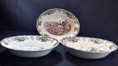 """Johnson Brothers Friendly Village Set of 3 Vegetable Bowls 9"""" The Village Green"""
