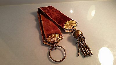 Victorian velvet & brass light pull with chinoisere gilded fan decoration