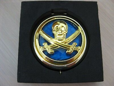 Disney Store Pirates of the Caribbean Glass Compact Mirror Skull Crossbones