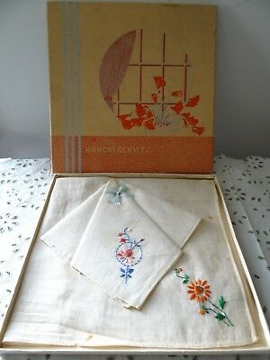 Antique Ladies Handkerchiefs Hand Embroidered Vintage in the Gift Box