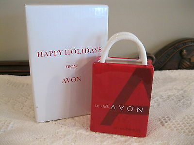 Avon 2002 Happy Holidays Ceramic Gift Bag - Nib