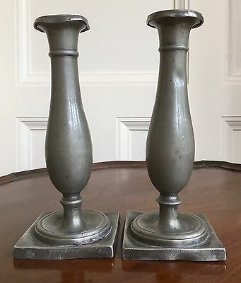 A Pair Of Early Austrian Pewter Candlesticks, c.1790-1830. 20.5cm.