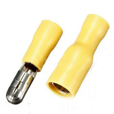 100 x Male & Female Yellow Insulated Bullet Connectors Terminals 12-10AWG J6T4