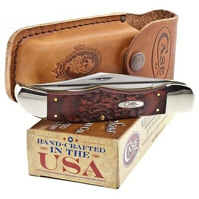 Case XX Folding Hunter Knife Clip Skinner Blades Jigged Brown Staminawood Handle