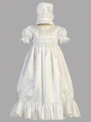 Girls White Christening Baptism Gown Dress Taffeta w/ Lace Accent Size 3-6M New