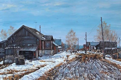 Original Russian Winter  Snowy Spring Landscape Art Oil Painting Of Old Village