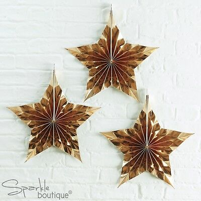 GOLD STAR FANS x 3 - Christmas/Xmas Foiled Honeycomb Hanging Decorations - Retro