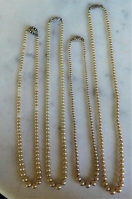 Lot of FOUR Antique Vintage Classic Pearl Necklaces with Detailed Clasps